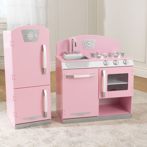 Kidkraft Retro Kitchen And Refrigerator Pink Play