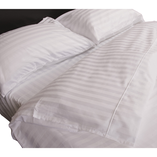 Maholi Damask Stripe Collection 300 Thread Count Egyptian Cotton Duvet Cover Set - Double/Full-White