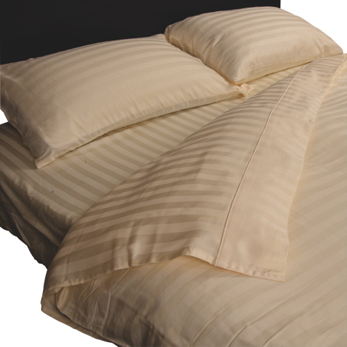 Maholi Damask Stripe Collection 300 Thread Count Egyptian Cotton Duvet Cover Set - Queen - Ivory