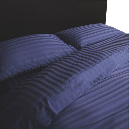 Maholi Damask Stripe Collection 300 Thread Egyptian Cotton Sheet Set - Queen - Navy