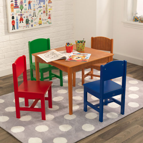 KidKraft Nantucket Table & 4-Chair Set - Honey / Primary Colours ...