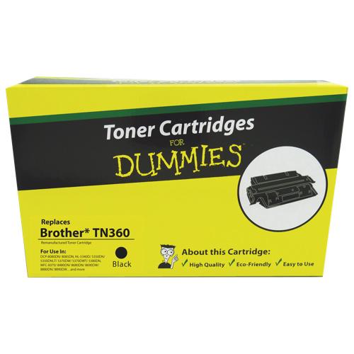 Cartouche de poudre d'encre noire Brother TN360 For Dummies (DBR-TN360)