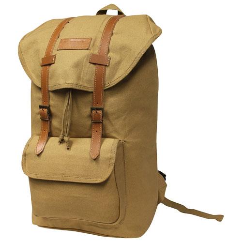 """World Famous 21"""" Vintage Backpack - Khaki"""