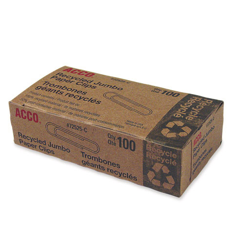 Acco #4 Recycled Paper Clips (ACC72525) - 100 Pack