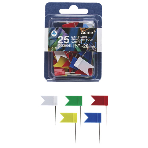 Acme United Flag Map Pins (ACM33005) - 25 Pack - Assorted Colours