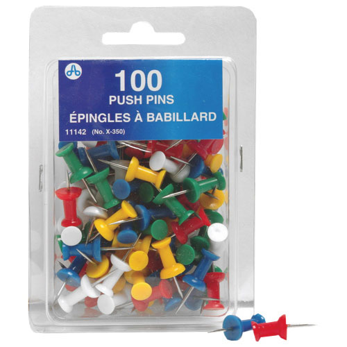 Acme United Half Inch Push Pins (ACM11142) - 100 Pack - Assorted Colours
