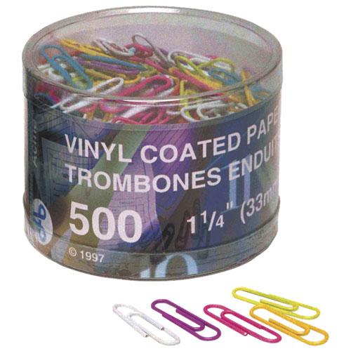 Trombones d'Acme United (ACM90826) - Paquet de 500 - Couleurs assorties