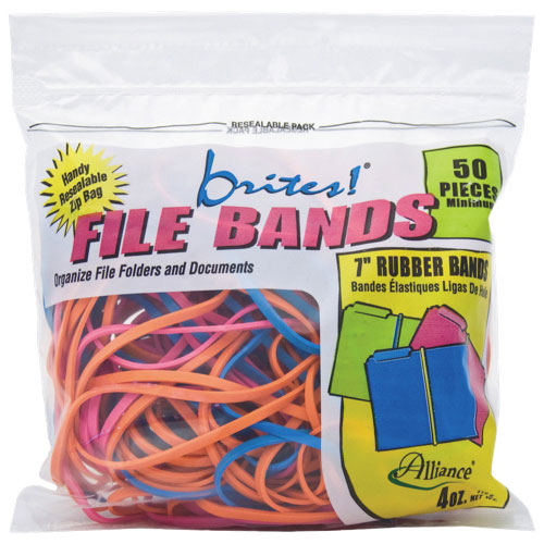 Alliance Rubber Brites! Pic-Pac Rubber Bands (ALL07800) - 50 Pack - Assorted Colours