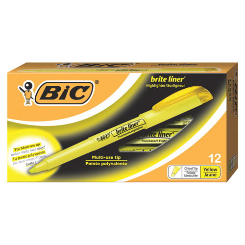 BIC Brite Liner Highlighter (BICBL11-YW) - 12 Pack - Yellow