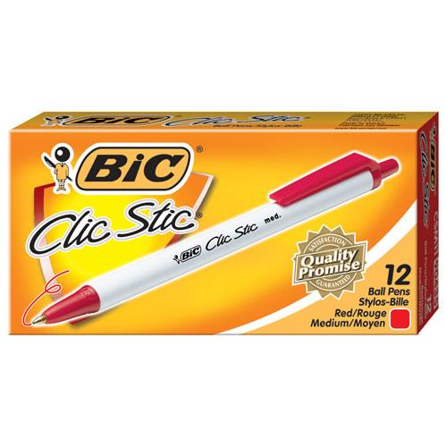 Stylo à bille rétractable Clic Stic de BIC (BICCSM11-RD) - Paquet de 12 - Rouge