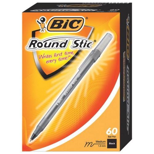BIC Round Stic Ballpoint Pen (BICGSM609BK) - 60 Pack - Black