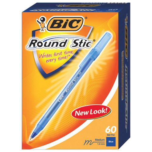 Stylo à bille Round Stic de BIC (BICGSM609BL) - Paquet de 60 - Bleu
