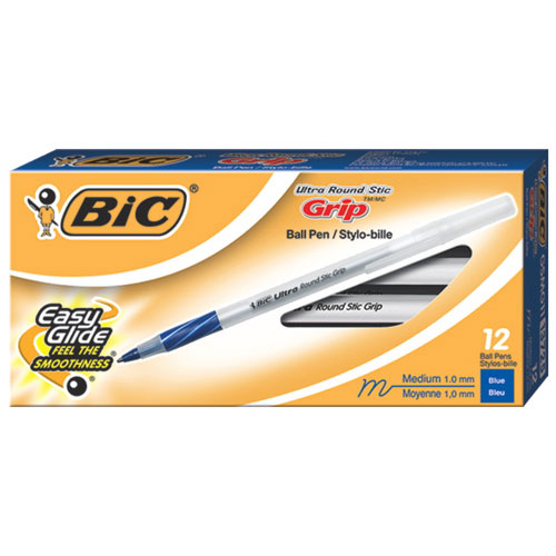 BIC Round Stic Comfort Grip Ballpoint Pen (BICGSMG11-BL) - 12 Pack - Blue