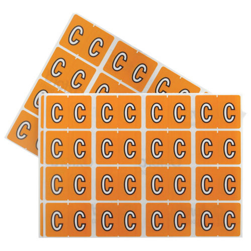 "Esselte Shelf Folder Labels (ESS06603) - 240 Pack - ""C"" - Orange"
