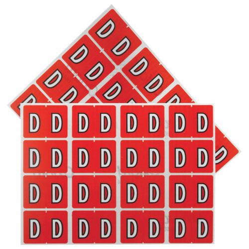 "Esselte Shelf Folder Labels (ESS06604) - 240 Pack - ""D"" - Red"