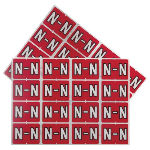 "Esselte Shelf Folder Labels (ESS06615) - 240 Pack - ""N"" - Red"