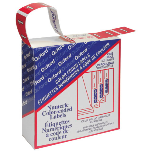 Étiquettes numériques pour chemise de classement (ESS06631) - Paquet de 500 - Rouge