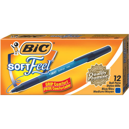 BIC SoftFeel Stick Medium Point Pen (BICSGSM11-BL) - 12 Pack - Blue