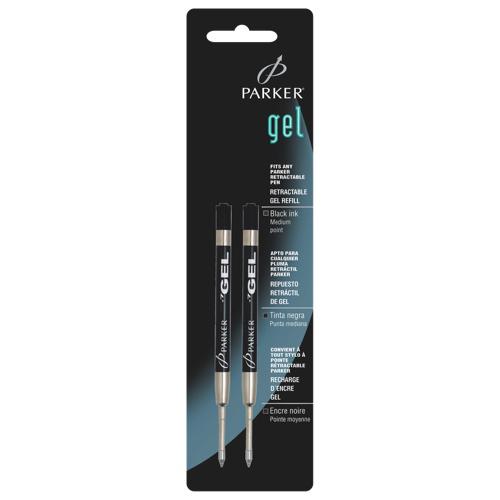 Recharges pour stylo gel à pointe moyenne de Parker (PAR30525PP) - Paquet de 2 - Noir