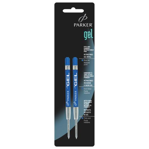 Recharges pour stylo gel à pointe moyenne de Parker (PAR30526PP) - Paquet de 2 - Bleu