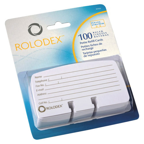 Rolodex Petite List Finder Card Refill (ROL67553) - 100 Pack