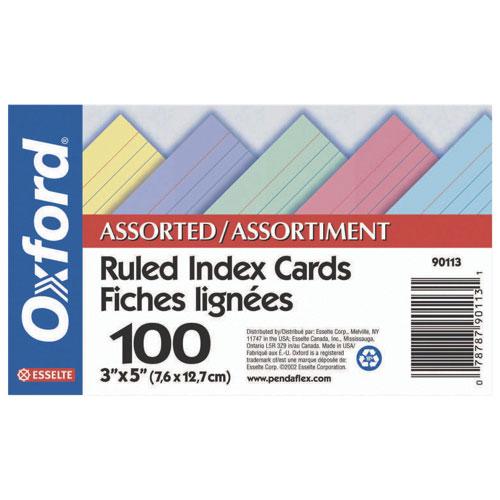 Fiche d'index 3 x 5 po d'Esselte (ESS90113) - Paquet de 100 - Couleurs assorties