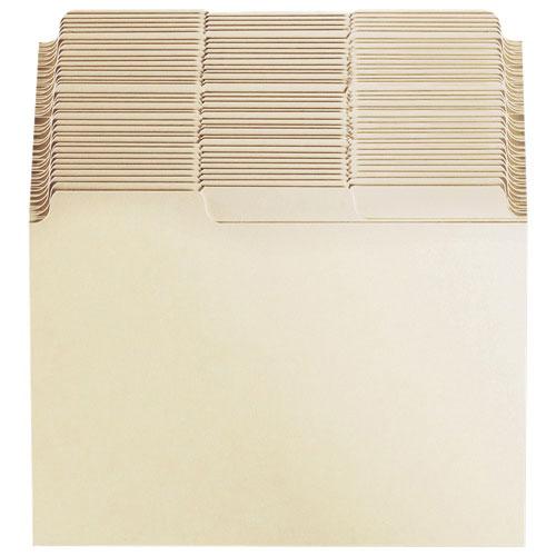 Esselte Blank Index Card File Guide (ESSB533) - 100 Pack - Manilla