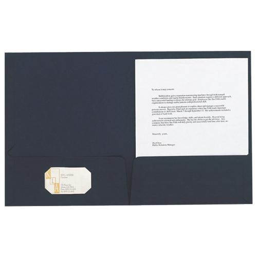 Esselte Oxford Linen Twin Pocket Portfolio (ESS50543) - Letter - 5 Pack - Navy Blue
