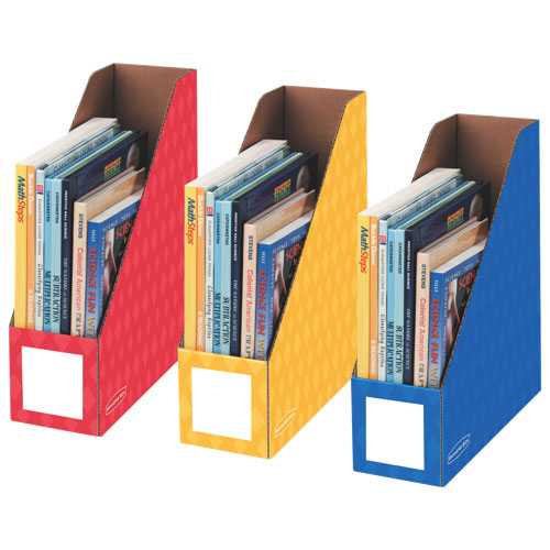 """Fellowes 4"""" Magazine File (FEL3381701) - 3 Pack - Red/Blue/Yellow"""