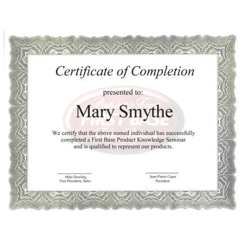 First Base Gloche Certificate (FST83408) - 25 Pack - Green
