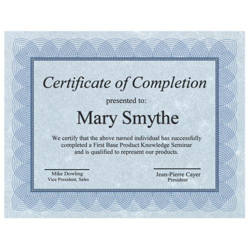 Certificat vierge Regent de First Base (FST83500) - Paquet de 100 - Bleu