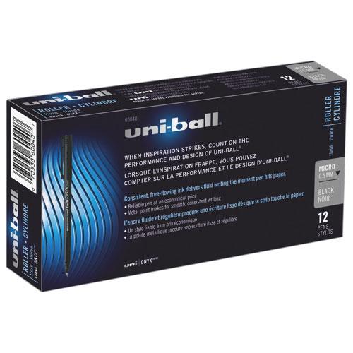 Stylos à bille roulante à petite pointe Onyx d'Uni-Ball de Sanford (SAN60040) - Paquet de 12 - Noir