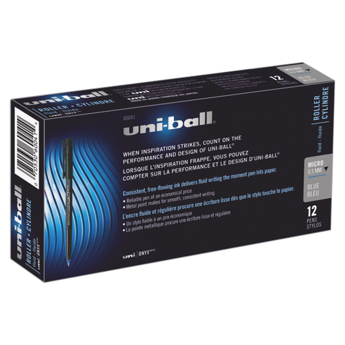 Uni-Ball Onyx Micro Point Rollerball Pen (SAN60041) - 12 Pack - Blue