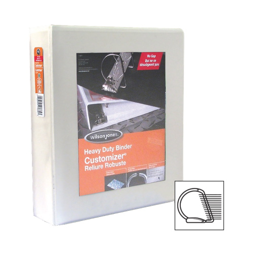 "Wilson Jones Heavy-Duty Customizer 2"" D-Ring Binder (WLJ13666) - White"