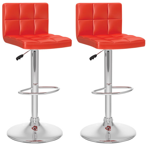 Contemporary Adjustable Height Bar Stool Set Of 2 Red