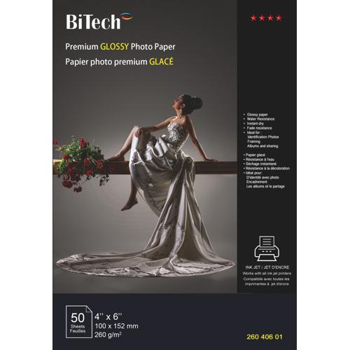 "BiTech 50-Sheet 4"" x 6"" Premium Glossy Photo Paper"