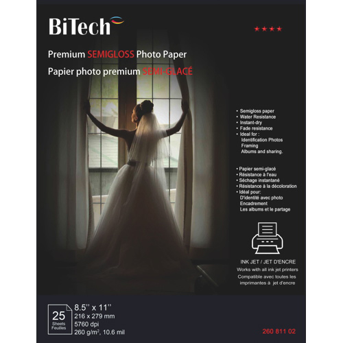 "BiTech 25-Sheet 8.5"" x 11"" Premium Semigloss Photo Paper"