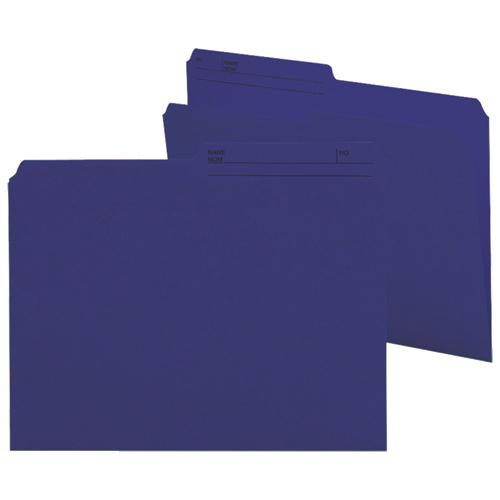 Chemises à onglets supérieurs de Smead (SMD10362) - Format lettre - Paquet de 100 - Bleu