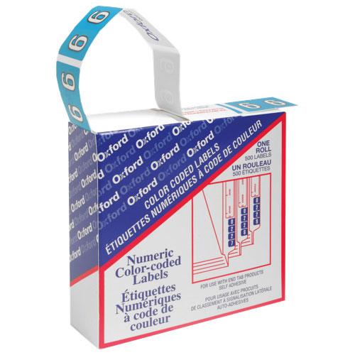 Étiquettes numériques à code de couleur d'Esselte (ESS06636) - Paquet de 500 - 6 - Bleu