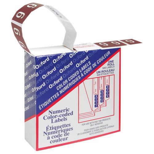 Étiquettes chromocodées numérique d'Esselte (ESS06639) - Paquet de 500 - « 9 » - Brun