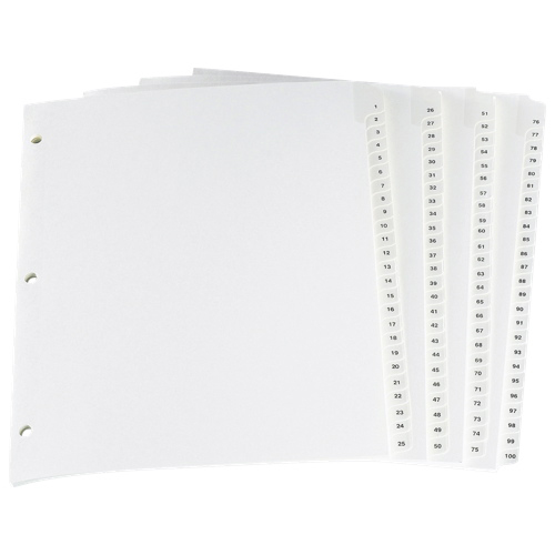 Séparateurs avec onglet plastifié d'Esselte (ESSCR213-100W) - Lettre - 100 - Blanc