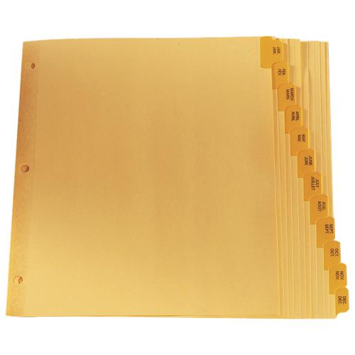 Séparateurs avec onglet préimprimé d'Esselte (ESSCR213-12) - Lettre - 12 - Chamois