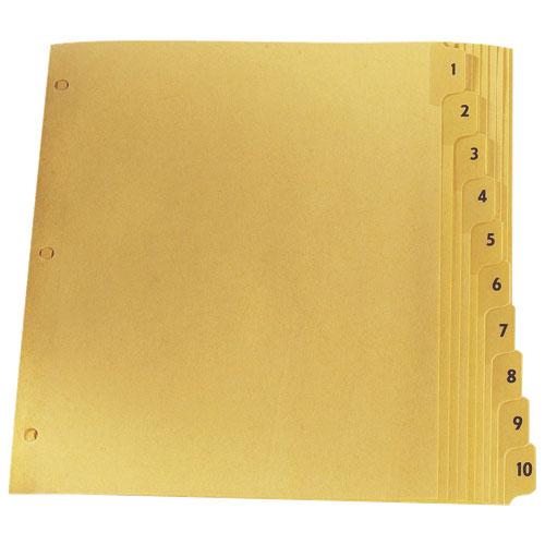 Intercalaires avec onglets laminés d'Esselte (ESSCR213-10B) - Lettre Paquet de 10 - Chamois