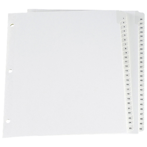 Esselte Preprinted Lamin Tab Index Divider (ESSCR213-50W) - Letter - 50 Pack - White