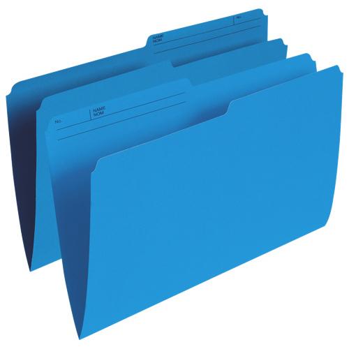 Chemises verticales à onglet supérieur d'Esselte (ESSR615-BLU) - Légal - Paquet de 100 - Bleu