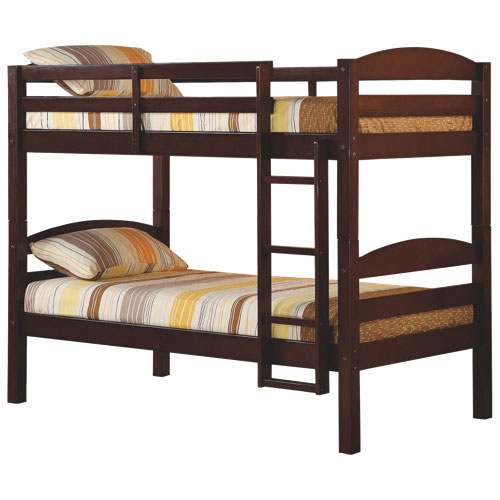 Winmoor Home Traditional Solid Wood Bunk Bed Twin Espresso