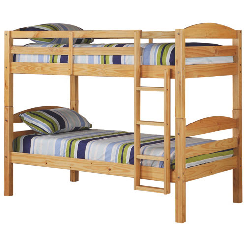 Traditional Solid Wood Bunk Bed Twin Natural Kids Beds Best