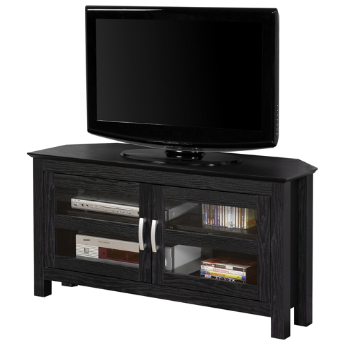walker edison 52 corner tv stand black tv stands best buy canada. Black Bedroom Furniture Sets. Home Design Ideas