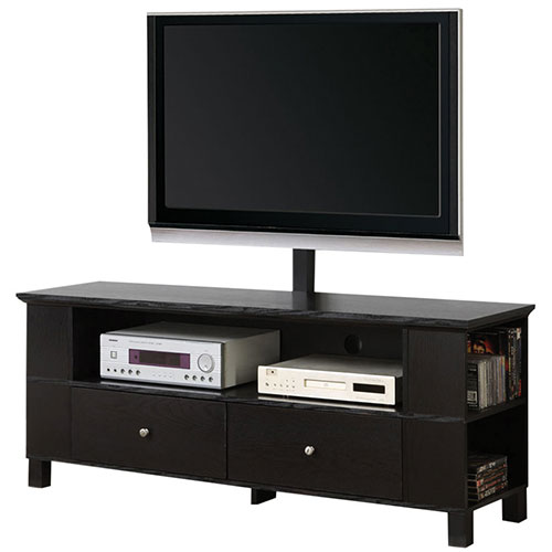 "Walker Edison TV Stand with 33"" - 65"" Fixed TV Mount - Black (BC60CMPBL-MT)"