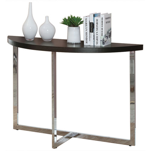 table en demi cercle cappuccino chrom consoles best buy canada. Black Bedroom Furniture Sets. Home Design Ideas